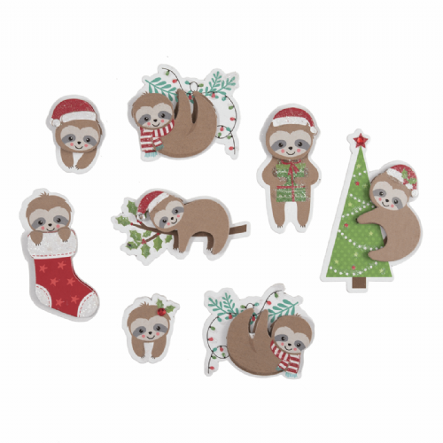 Festive Sloths 8 Pieces